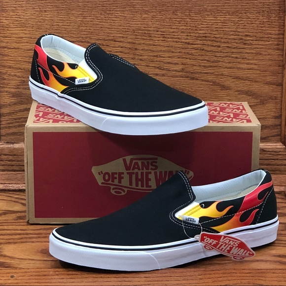 vans slip on flame